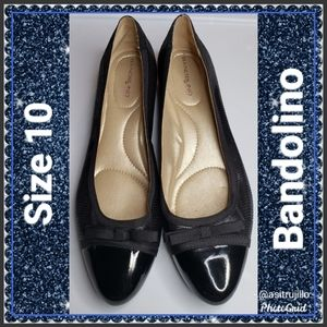 Bandolino B Flexible Black PU Leather Wedge Sz 10